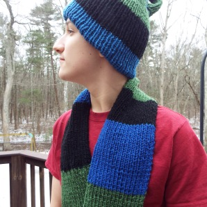 Klein bottle hat and Mobius strip scarf set