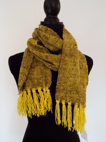 "Yellow chenille scarf. 75"" x 6.5"". $32 plus S/H."